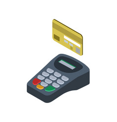 Credit card pos terminal isometric 3d icon vector