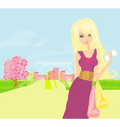 Cute fashion girl on a shopping center background vector image