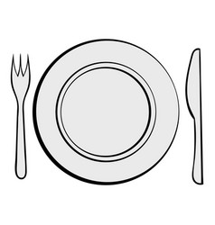 Cutlery set with plate icon cartoon vector