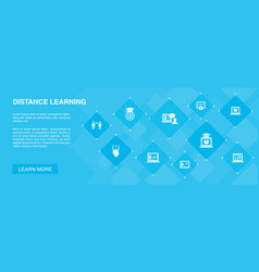 distance learning banner 10 icons concept online vector image
