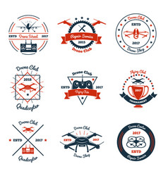 Drone color emblems vector