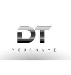 Dt d t black and white horizontal stripes letter vector