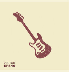 electric guitar icon with scuffed effect vector image