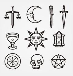 Esoteric and mystic cartoon set vector