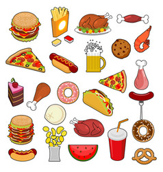 Fast food big set signs of feed icon collection vector