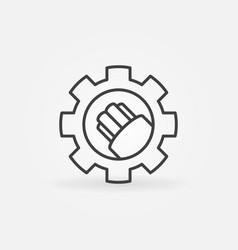 Fiber optic cable in gear icon in outline vector