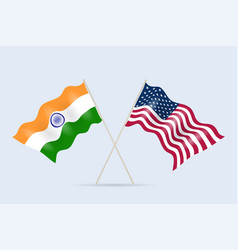 flag usa and india together a symbol vector image