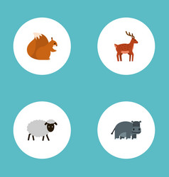 flat icons mutton hippopotamus moose and other vector image