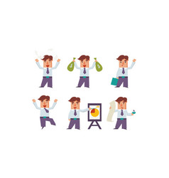 flat set of happy office worker in vector image