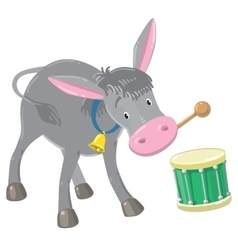 Funny gray drumming donkey vector image