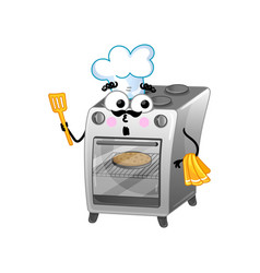 funny kitchen stove isolated cartoon character vector image