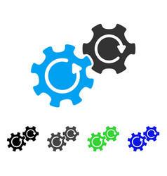 Gears rotation flat icon vector