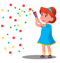 girl child throw colored confetti at the carnival vector image