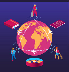 globe trip travelling isometric concept vector image