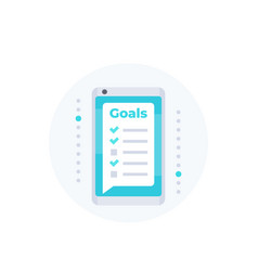 Goal setting app in smartphone icon vector