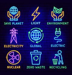 green energy neon label set vector image
