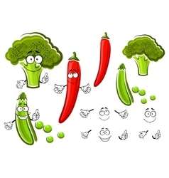 Green pea broccoli and chilli pepper vector image