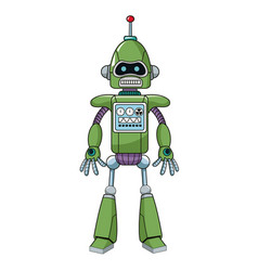 green robot machine engineering vector image