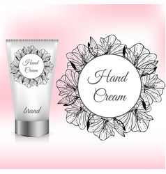 Hand cream packaging with amaryllis wreath vector