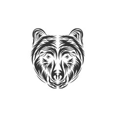 hand drawn bear head vector image