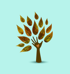 Hand tree nature love concept art vector