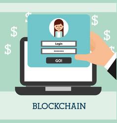 hand with laptop website login money blockchain vector image