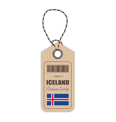 hang tag made in iceland with flag icon isolated vector image