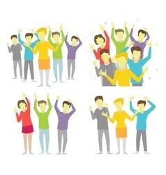 Happy people joyful group vector