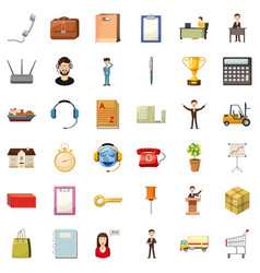 Hard business icons set cartoon style vector