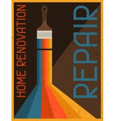 Home renovation repair retro poster in flat design vector