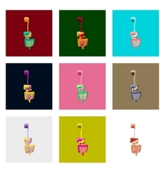 Icons set in flat style human digestive system vector