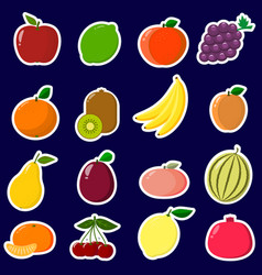 icons stickers of fruit with a white outline in a vector image