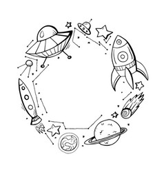 Into space round frame with children contour vector