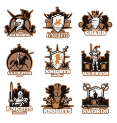 Knights colored emblems vector