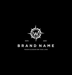 Letter w compass logo design vector