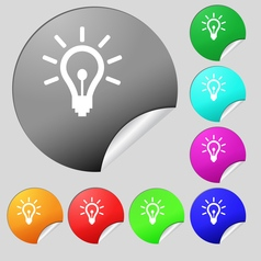 Light bulb icon sign Set of eight multi colored vector image