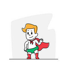 Little baby wearing red super hero cape and green vector