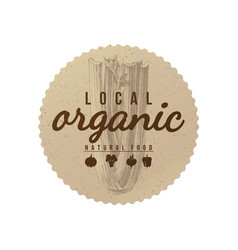 Local organic natural food round paper emblem vector