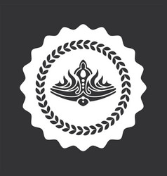 Luxurious noble crown on round monochrome emblem vector
