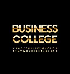 luxury emblem business college gold alphabet set vector image
