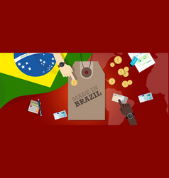 Made in brazil price tag badge export vector
