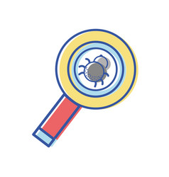 Magnifying glass with spider insect inside vector