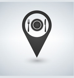 map marker location with fork plate and knife vector image