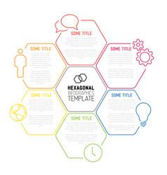 modern hexagonal infographic report template made vector image