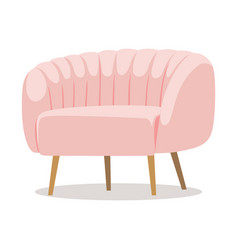 modern white pink soft armchair with upholstery vector image