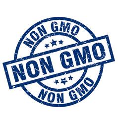 Non gmo blue round grunge stamp vector