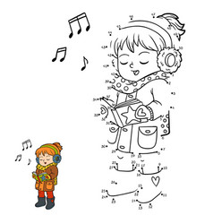 numbers game girl singing a christmas song vector image