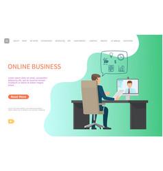 Online business web poster man interviewing worker vector