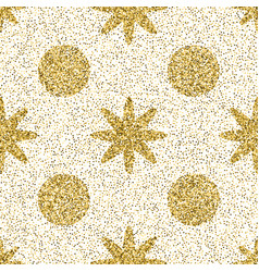 pattern with gold glitter textured circle and star vector image