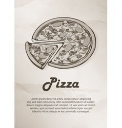 Pizza Vintage Menu Label Logo Frame Brochures vector image